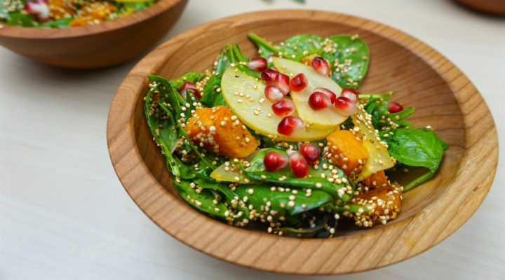 Roasted Squash & Crispy Quinoa Spinach Salad